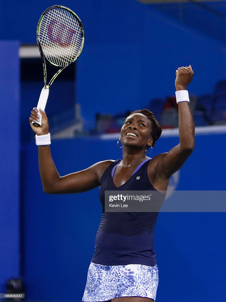 Venus Williams of United States celebrates after winning the match ...