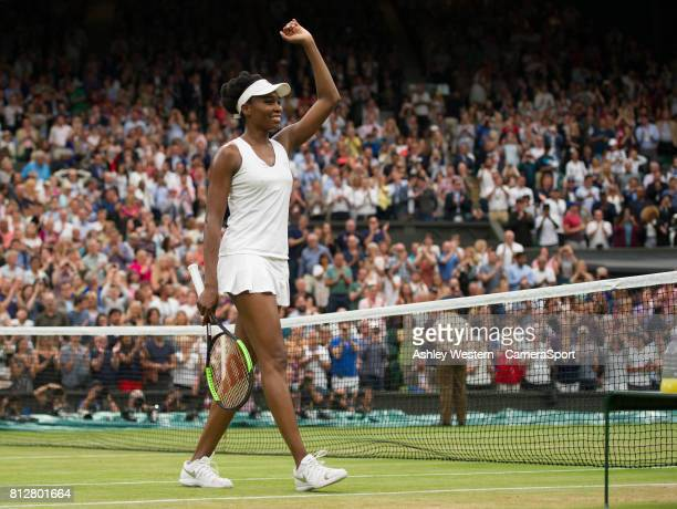 Venus Williams of United States celebrates her victory over Jelena Ostapenko of Latvia in their Ladies' Singles Quarter Final Match at Wimbledon on...