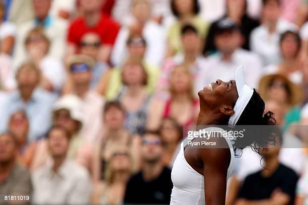 Venus Williams of United States celebrates winning the women's singles Semi Final match against Elena Dementieva of Russia on day ten of the...