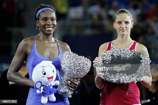 Venus Williams of USA and Karolina Pliskova of Czech Republic with trophies during the Award ceremony on day 7 of Huajin Securities WTA Elite Trophy...