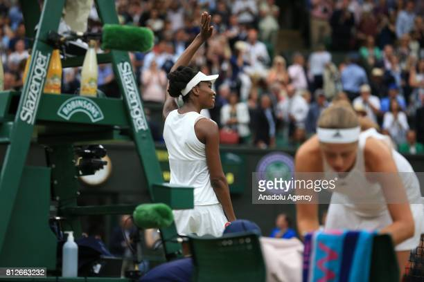 Venus Williams of USA celebrates after her victory against Jelena Ostapenko of Latvia on day eight of the 2017 Wimbledon Championships at the All...