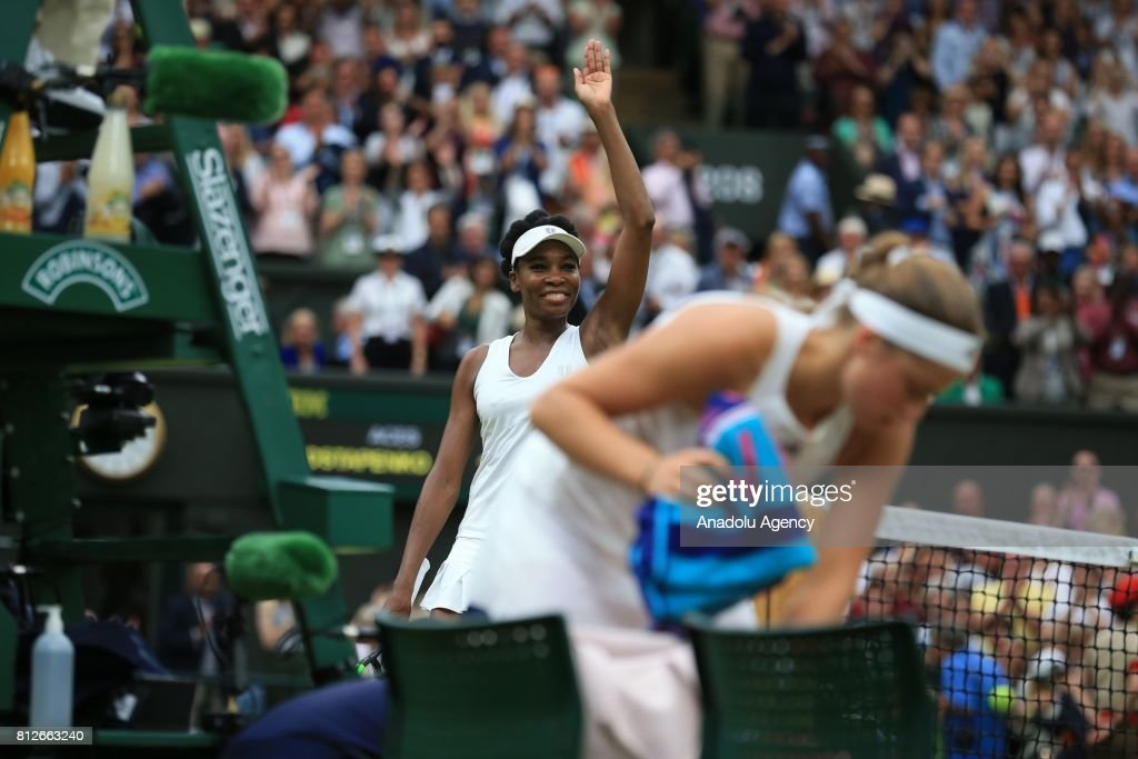 Venus Williams of USA celebrates after her victory against Jelena Ostapenko of Latvia (R) on day eight of the 2017 Wimbledon Championships at the All England Lawn and Croquet Club in London, United Kingdom on July 11, 2017.