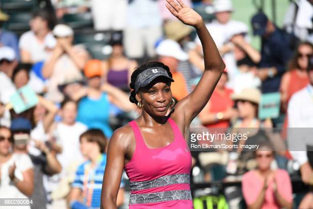 Venus Williams of USA celebrates against Patricia Maria Tig of Romania during Day 7 of the Miami Open at Crandon Park Tennis Center on March 26 2017...