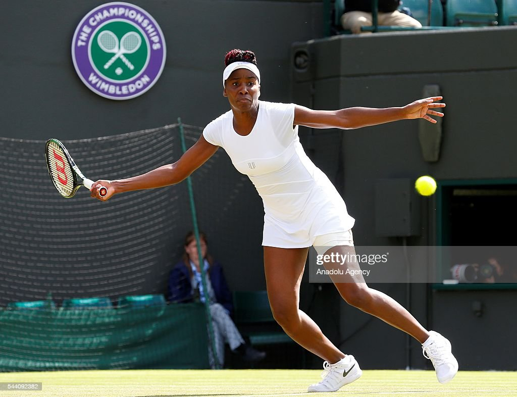 Venus Williams of USA in action against Darya Kasatkina (not seen) of Russia on day five of the 2016 Wimbledon Championships at the All England Lawn and Croquet Club in London, United Kingdom on July 01, 2016.