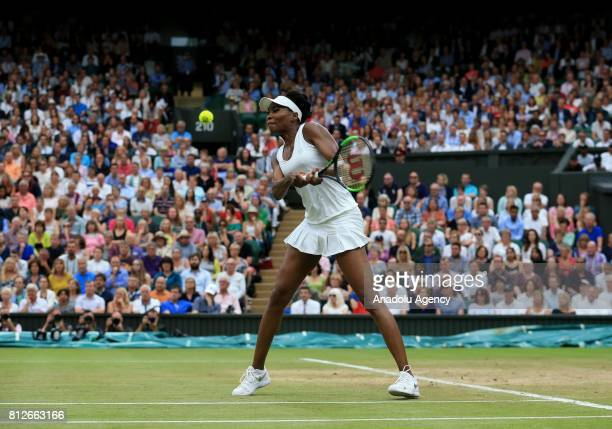 Venus Williams of USA in action against Jelena Ostapenko of Latvia on day eight of the 2017 Wimbledon Championships at the All England Lawn and...
