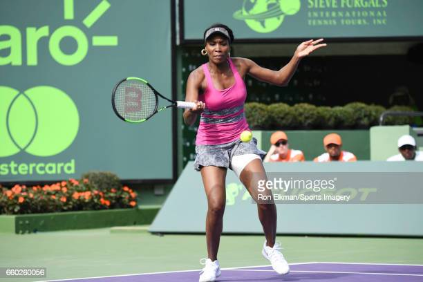 Venus Williams of USA in action against Patricia Maria Tig of Romania during Day 7 of the Miami Open at Crandon Park Tennis Center on March 26 2017...