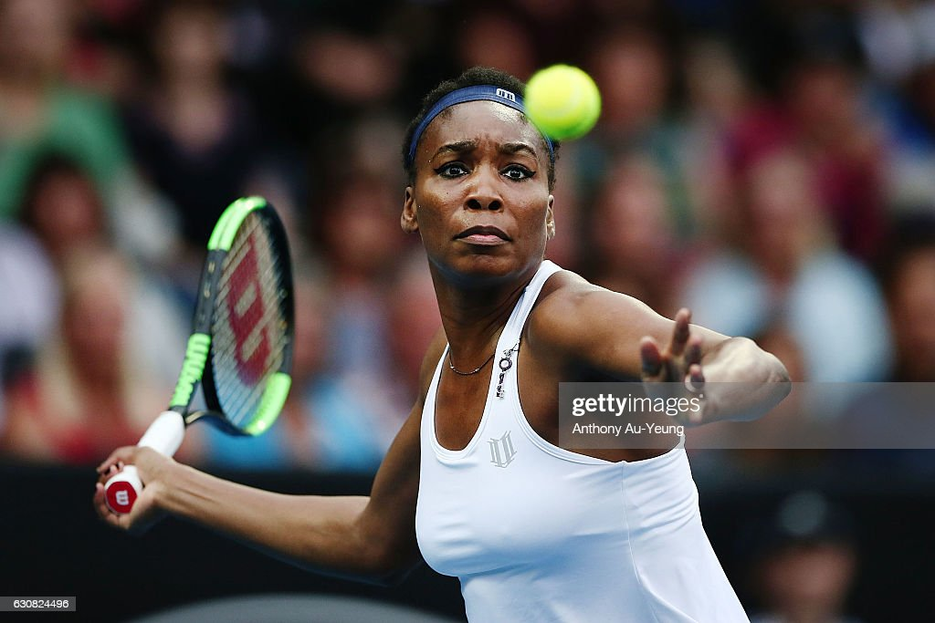 Venus Williams of USA plays a forehand in her match against Jade Lewis of New Zealand on day two of the ASB Classic on January 3, 2017 in Auckland, New Zealand.