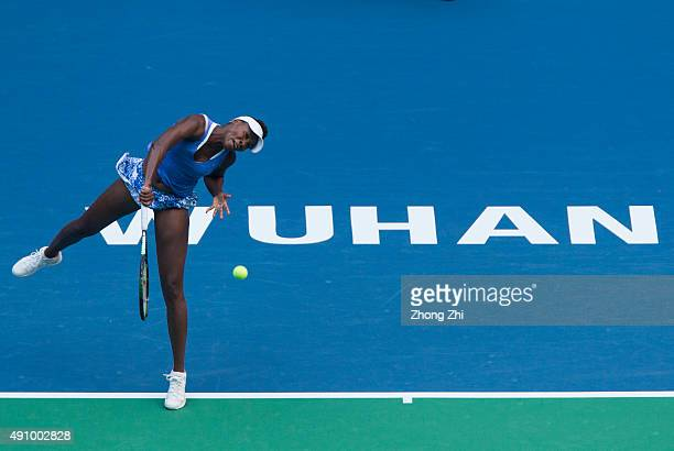 Venus Williams of USA serves during the semifinal match against Roberta Vinci of Italy on Day 6 of 2015 Dongfeng Motor Wuhan Open at Optics Valley...