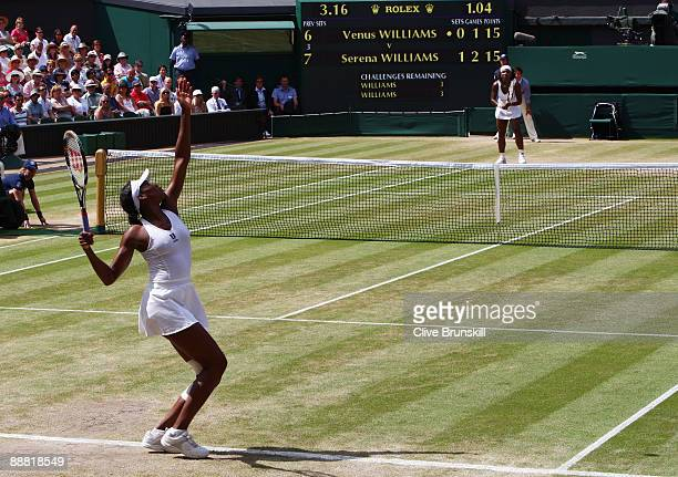 Venus Williams of USA serves during the women's singles final match against Serena Williams of USA on Day Twelve of the Wimbledon Lawn Tennis...