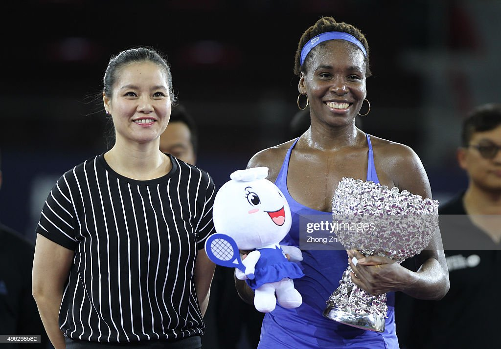 <a gi-track='captionPersonalityLinkClicked' href=/galleries/search?phrase=Venus+Williams&family=editorial&specificpeople=171981 ng-click='$event.stopPropagation()'>Venus Williams</a> of USA with trophy poses for photo with former WTA player Li Na after winning the final match against Karolina Pliskova of Czech Republic on day 7 of Huajin Securities WTA Elite Trophy Zhuhai at Hengqin Tennis Center on November 8, 2015 in Zhuhai, China.