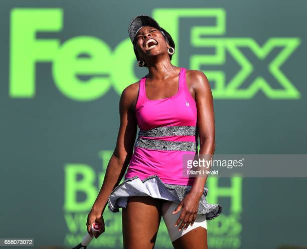 Venus Williams reacts to a rare poor shot to Patricia Maria Tig during a match at the Miami Open on Sunday March 26 2017 at the Crandon Park Tennis...