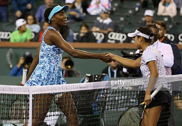 Venus Williams shakes hands with Kurumi Nara of Japan during the BNP Paribas Open at the Indian Wells Tennis Garden on March 11 at Indian Wells...