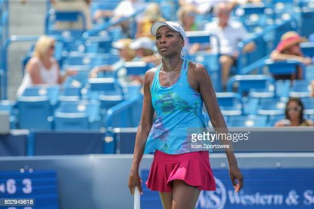 Venus Williams walks to the service line during the Western Southern Open at the Lindner Family Tennis Center in Mason Ohio on August 15 2017