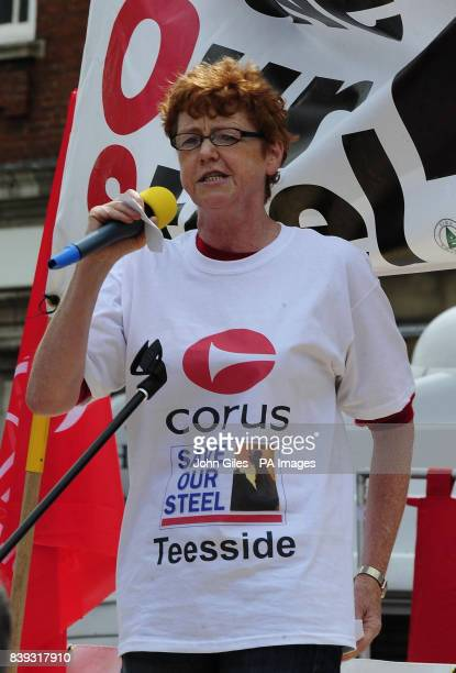 Vera Baird Labour MP for Redcar makes a speech to Teeside Steelworkers with supporters and their families march through Redcar to highlight the...