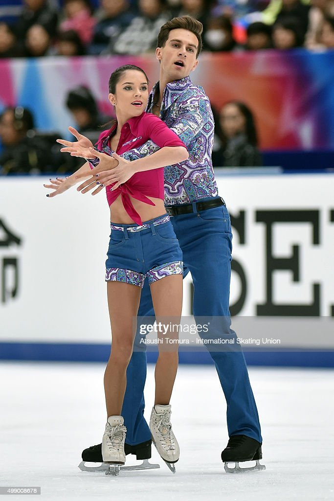 Vera Bazarova and Andrei Deputat of Russia compete in the pairs free skating during the day two of the NHK Trophy ISU Grand Prix of Figure Skating 2015 at the Big Hat on November 28, 2015 in Nagano, Japan.
