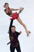 Vera Bazarova and Yuri Larionov of Russia compete in the Figure Skating Pairs Free Skating during day five of the 2014 Sochi Olympics at Iceberg...