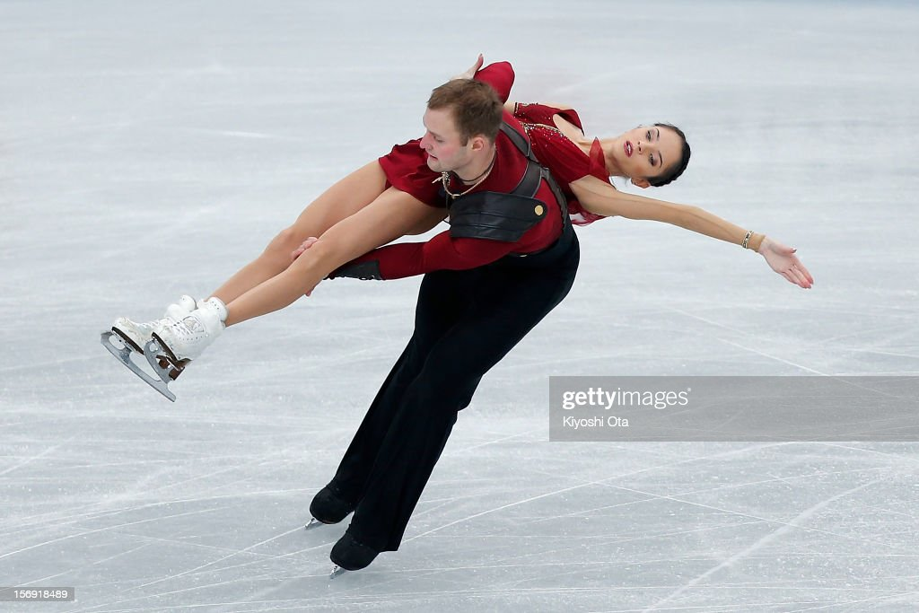 Vera Bazarova and Yuri Larionov of Russia compete in the Pairs Free Skating during day three of the ISU Grand Prix of Figure Skating NHK Trophy at Sekisui Heim Super Arena on November 25, 2012 in Rifu, Japan.