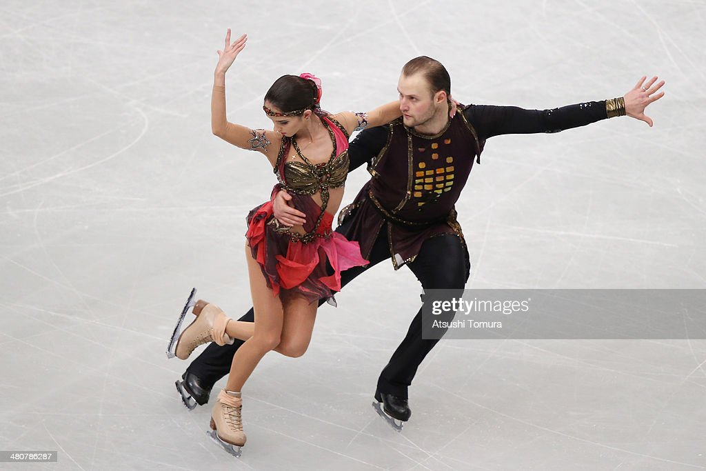 <a gi-track='captionPersonalityLinkClicked' href=/galleries/search?phrase=Vera+Bazarova&family=editorial&specificpeople=6740150 ng-click='$event.stopPropagation()'>Vera Bazarova</a> and Yuri Larionov of Russia compete in the Pairs Free Program during ISU World Figure Skating Championships at Saitama Super Arena on March 27, 2014 in Saitama, Japan.