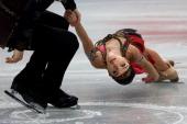 Vera Bazarova and Yuri Larionov of Russia compete in the Pairs Free Program during ISU World Figure Skating Championships at Saitama Super Arena on...