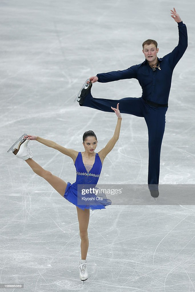 Vera Bazarova and Yuri Larionov of Russia compete in the Pairs Short Program during day two of the ISU Grand Prix of Figure Skating NHK Trophy at Sekisui Heim Super Arena on November 24, 2012 in Rifu, Japan.