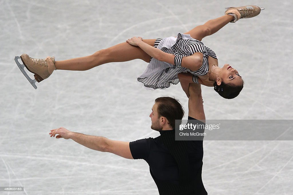 Vera Bazarova and Yuri Larionov of Russia compete in the Pairs Short Program during ISU World Figure Skating Championships at Saitama Super Arena on March 26, 2014 in Saitama, Japan.