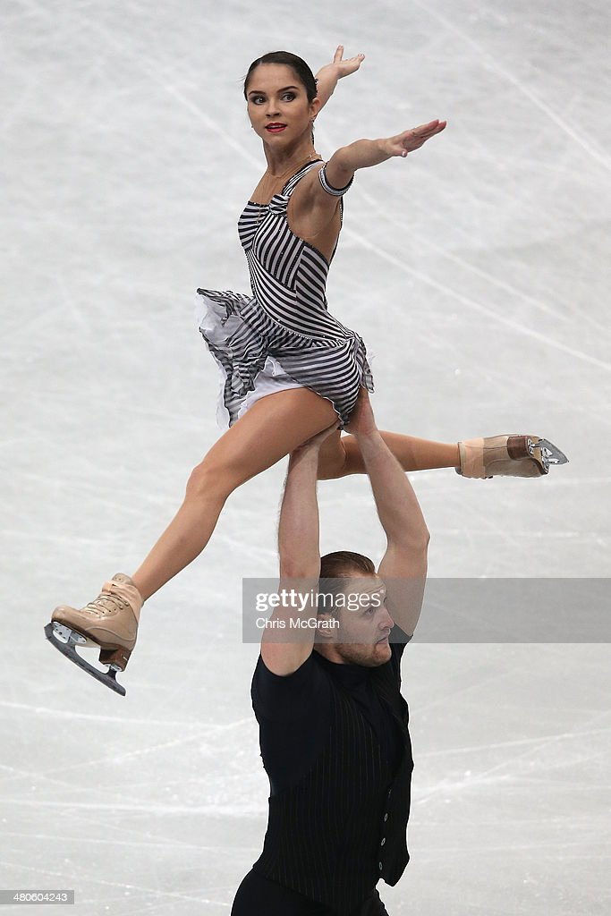 <a gi-track='captionPersonalityLinkClicked' href=/galleries/search?phrase=Vera+Bazarova&family=editorial&specificpeople=6740150 ng-click='$event.stopPropagation()'>Vera Bazarova</a> and Yuri Larionov of Russia compete in the Pairs Short Program during ISU World Figure Skating Championships at Saitama Super Arena on March 26, 2014 in Saitama, Japan.