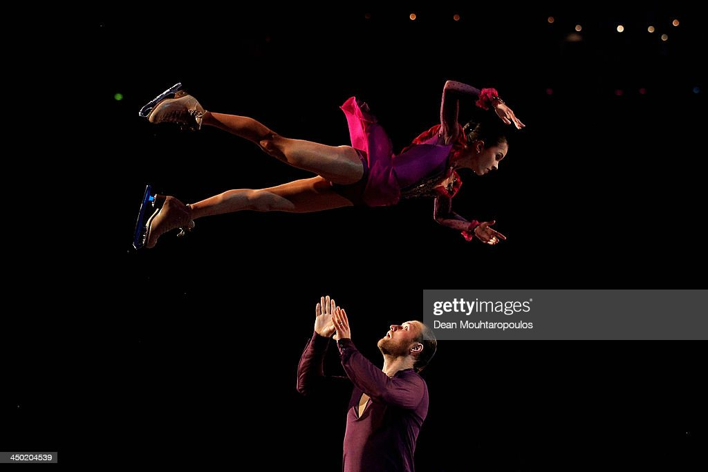 Vera Bazarova and Yuri Larionov of Russia perform during in the Gala Exhibition on day three of Trophee Eric Bompard ISU Grand Prix of Figure Skating 2013/2014 at the Palais Omnisports de Bercy on November 17, 2013 in Paris, France.