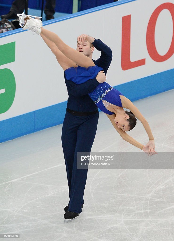 Vera Bazarova (front) and Yuri Larionov (back) of Russia perform during the pairs' short program in the NHK Trophy, the last leg of the six-stage ISU figure skating Grand Prix series, in Rifu, northern Japan, on November 24, 2012. AFP PHOTO / Toru YAMANAKA