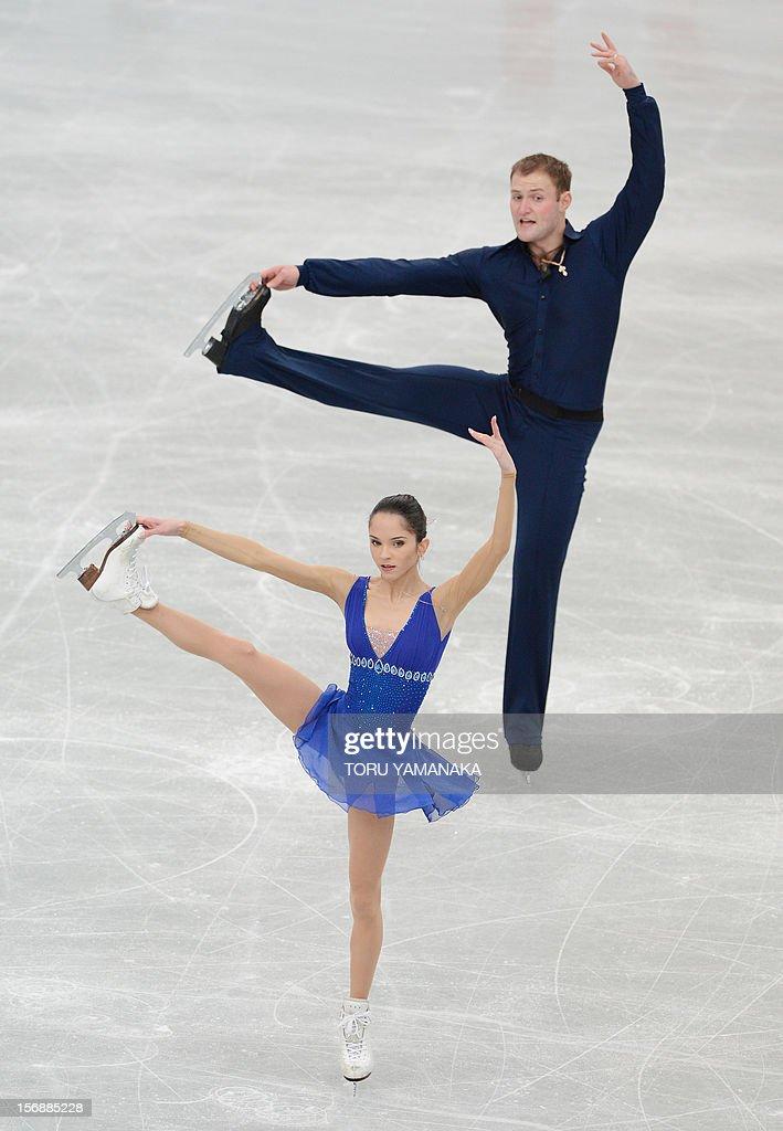 Vera Bazarova (front) and Yuri Larionov (back) of Russia perform during the pairs' short program in the NHK Trophy, the last leg of the six-stage ISU figure skating Grand Prix series, in Rifu, northern Japan, on November 24, 2012. AFP PHOTO / Toru YAMANAKA