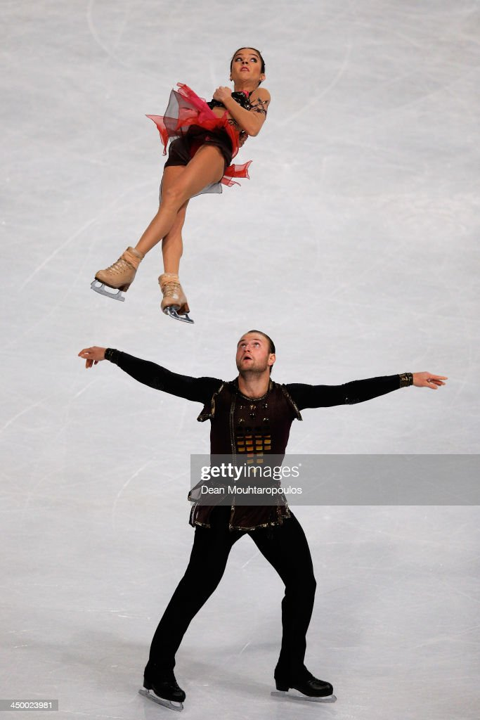 Vera Bazarova and Yuri Larionov of Russia perform in the Paris Free Skating during day two of Trophee Eric Bompard ISU Grand Prix of Figure Skating 2013/2014 at the Palais Omnisports de Bercy on November 16, 2013 in Paris, France.
