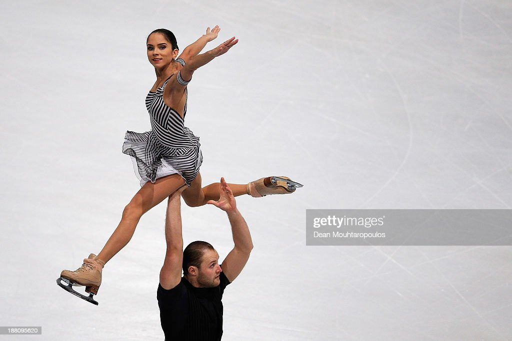 Vera Bazarova and Yuri Larionov of Russia perform in the Paris Short Program during day one of Trophee Eric Bompard ISU Grand Prix of Figure Skating 2013/2014 at the Palais Omnisports de Bercy on November 15, 2013 in Paris, France.