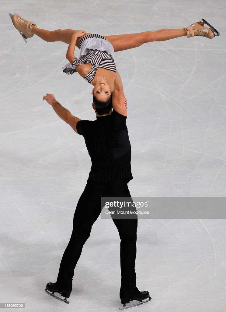 <a gi-track='captionPersonalityLinkClicked' href=/galleries/search?phrase=Vera+Bazarova&family=editorial&specificpeople=6740150 ng-click='$event.stopPropagation()'>Vera Bazarova</a> and Yuri Larionov of Russia perform in the Paris Short Program during day one of Trophee Eric Bompard ISU Grand Prix of Figure Skating 2013/2014 at the Palais Omnisports de Bercy on November 15, 2013 in Paris, France.