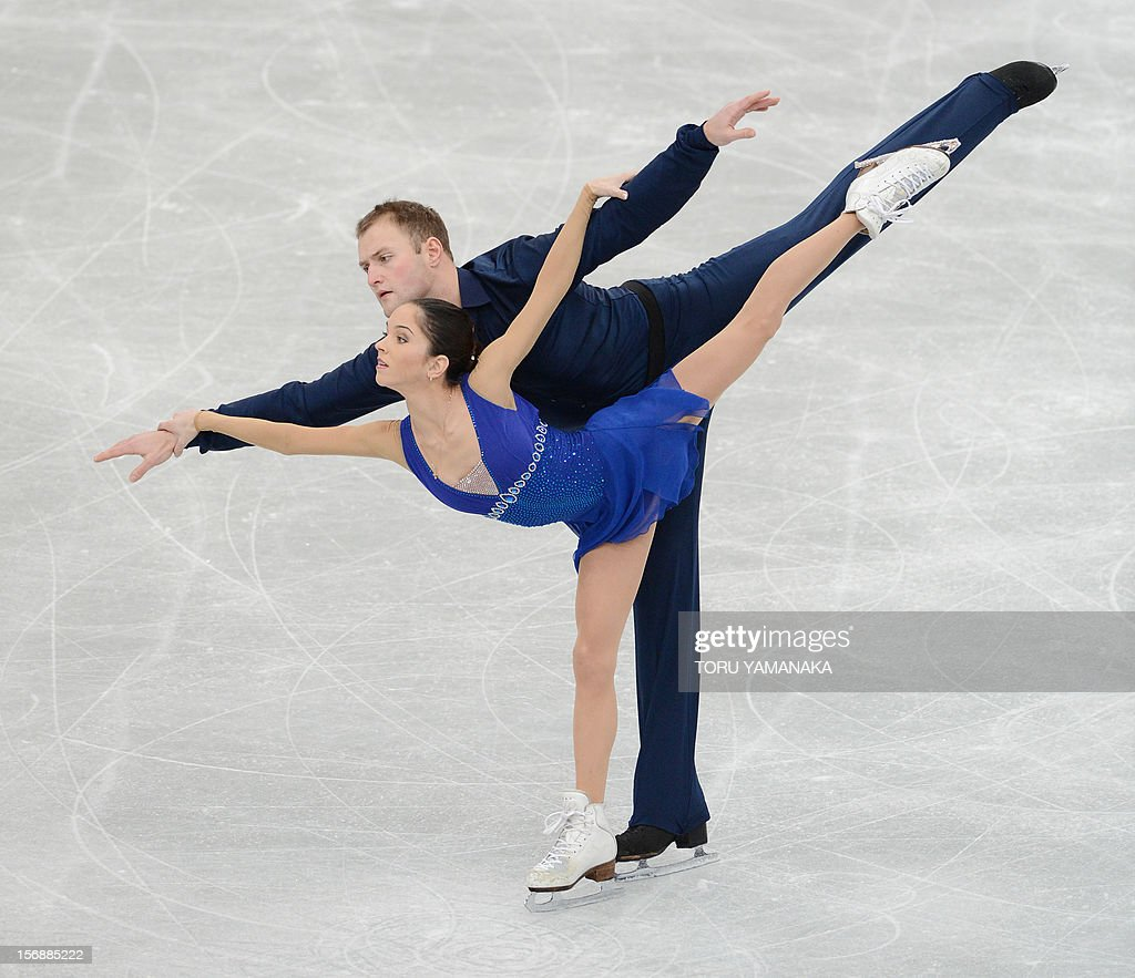 Vera Bazarova (front) and Yuri Larionov of Russia perform perform during the pairs' short program in the NHK Trophy, the last leg of the six-stage ISU figure skating Grand Prix series, in Rifu, northern Japan, on November 24, 2012. AFP PHOTO / Toru YAMANAKA