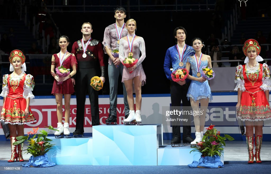 Vera Bazarova and Yuri Larionov of Russia with their silver medals, Tatiana Volosozhar and Maxim Trankov of Russia with their gold medals and Qing Pang and Jian Tong of China after the Pairs Free Skating during the Grand Prix of Figure Skating Final 2012 at the Iceberg Skating Palace on December 8, 2012 in Sochi, Russia.