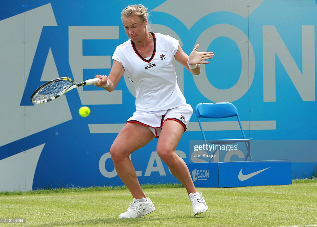 Vera Dushevina of Russia hits a forehand during her qualifier against Naomi Broady of Great Britain ahead of the AEGON Classic at Edgbaston Priory...