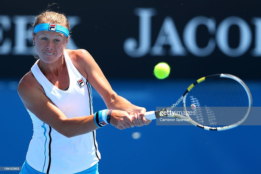 Vera Dushevina of Russia plays a backhand in her first round match against Vera Dushevina of Russia during day one of the 2013 Australian Open at...