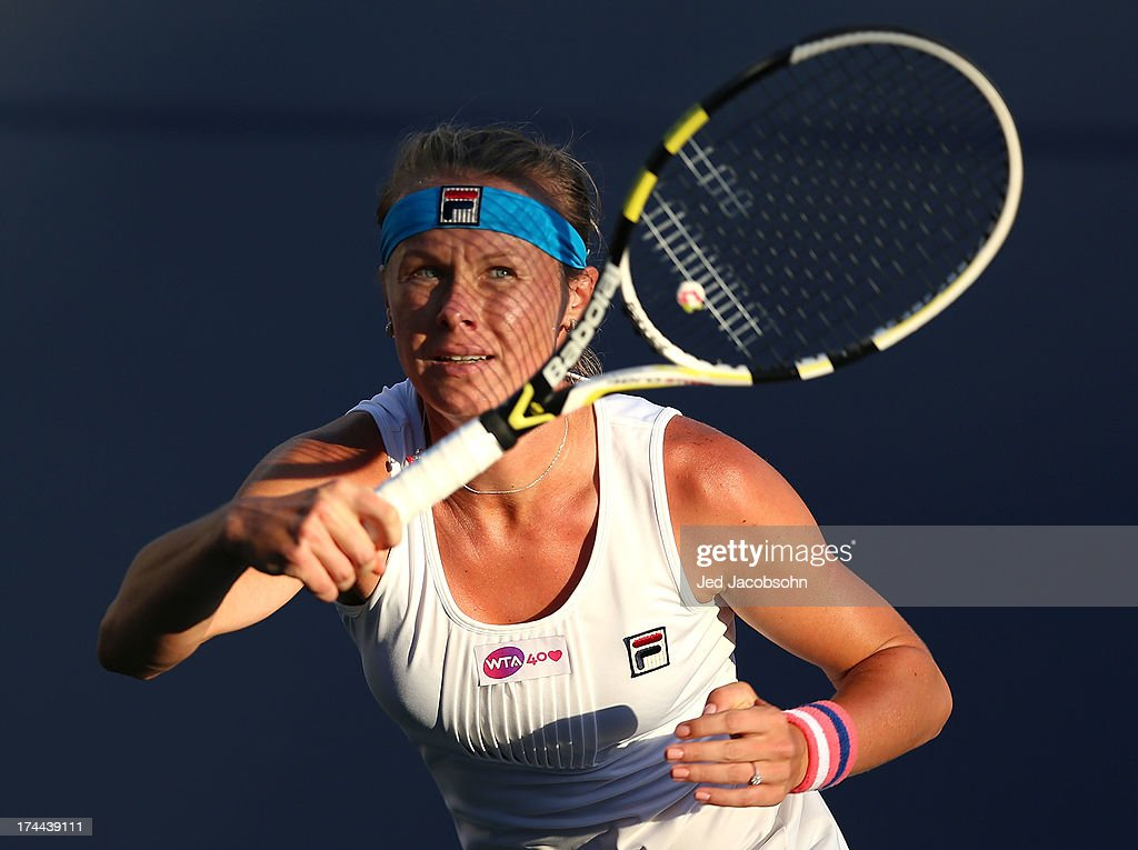 Vera Dushevina of Russia returns a shot against Madison Keys during day 4 of the Bank of the West Classic at Stanford University Taube Family Tennis...