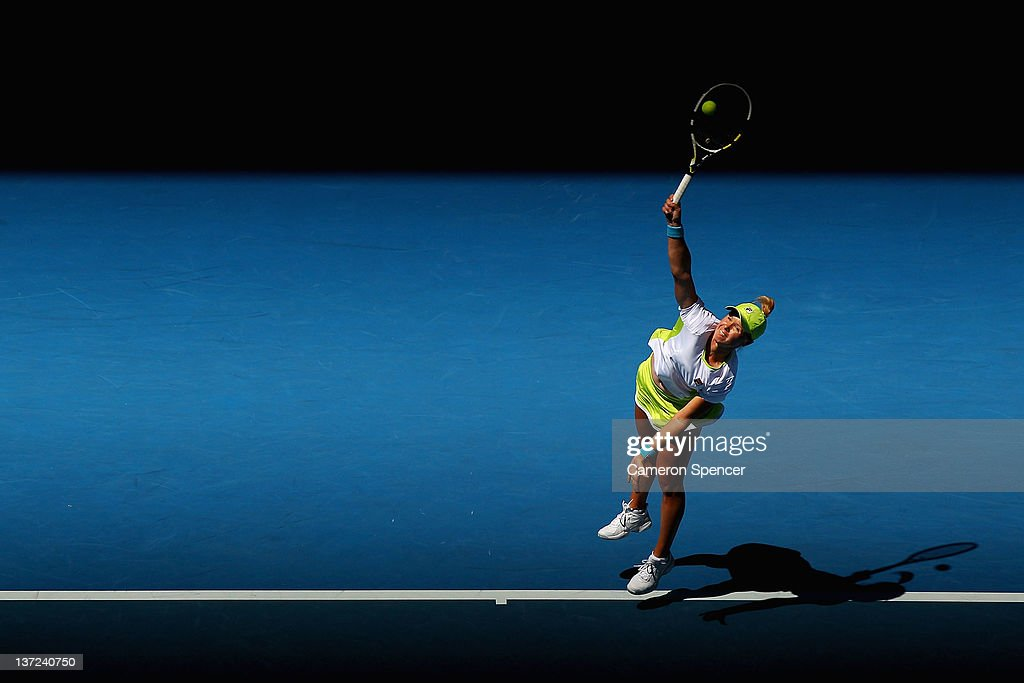 Vera Dushevina of Russia serves in her first round match against Petra Kvitova of the Czech Republic during day two of the 2012 Australian Open at...
