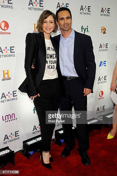 Vera Farmiga and Nestor Carbonell attend 2015 AE Networks Upfront on April 30 2015 in New York City