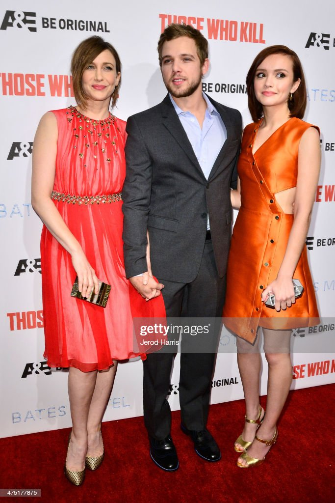 <a gi-track='captionPersonalityLinkClicked' href=/galleries/search?phrase=Vera+Farmiga&family=editorial&specificpeople=227012 ng-click='$event.stopPropagation()'>Vera Farmiga</a>, <a gi-track='captionPersonalityLinkClicked' href=/galleries/search?phrase=Max+Thieriot&family=editorial&specificpeople=2545974 ng-click='$event.stopPropagation()'>Max Thieriot</a> and <a gi-track='captionPersonalityLinkClicked' href=/galleries/search?phrase=Olivia+Cooke&family=editorial&specificpeople=10104216 ng-click='$event.stopPropagation()'>Olivia Cooke</a> attend the premiere party for A&E's Season 2 Of 'Bates Motel' & series premiere of 'Those Who Kill' at Warwick on February 26, 2014 in Hollywood, California.