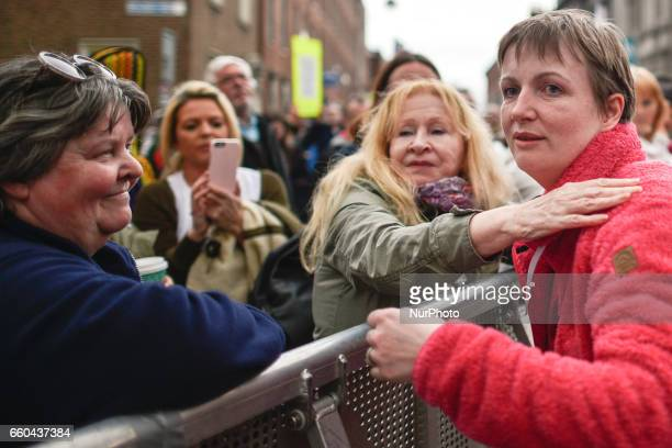 Vera Twomey and her supporters outside the Leinster House in Dublin this evening as Ireland moves one step closer to allowing doctors to prescribe...