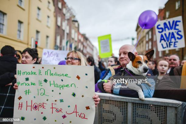 Vera Twomey supporters outside the Leinster House in Dublin this evening as Ireland moves one step closer to allowing doctors to prescribe medicinal...