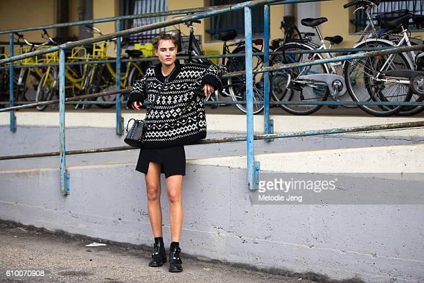Vera Van Erp outside the Diesel Black Gold show during Milan Fashion Week Spring/Summer 2017 on September 23 2016 in Milan Italy