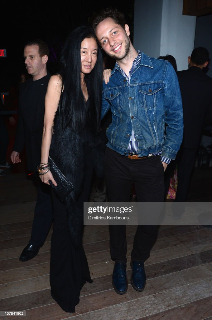 Vera Wang and <a gi-track='captionPersonalityLinkClicked' href=/galleries/search?phrase=Derek+Blasberg&family=editorial&specificpeople=856710 ng-click='$event.stopPropagation()'>Derek Blasberg</a> attend the celebration of Dom Perignon Luminous Rose at Wall at W Hotel on December 6, 2012 in Miami Beach, Florida.