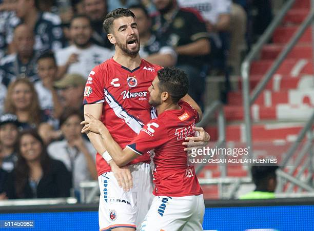 Veracruz' players celebrate after scoring against Monterrey during their Mexican Clausura 2016 tournament football match against Monterrey at the...