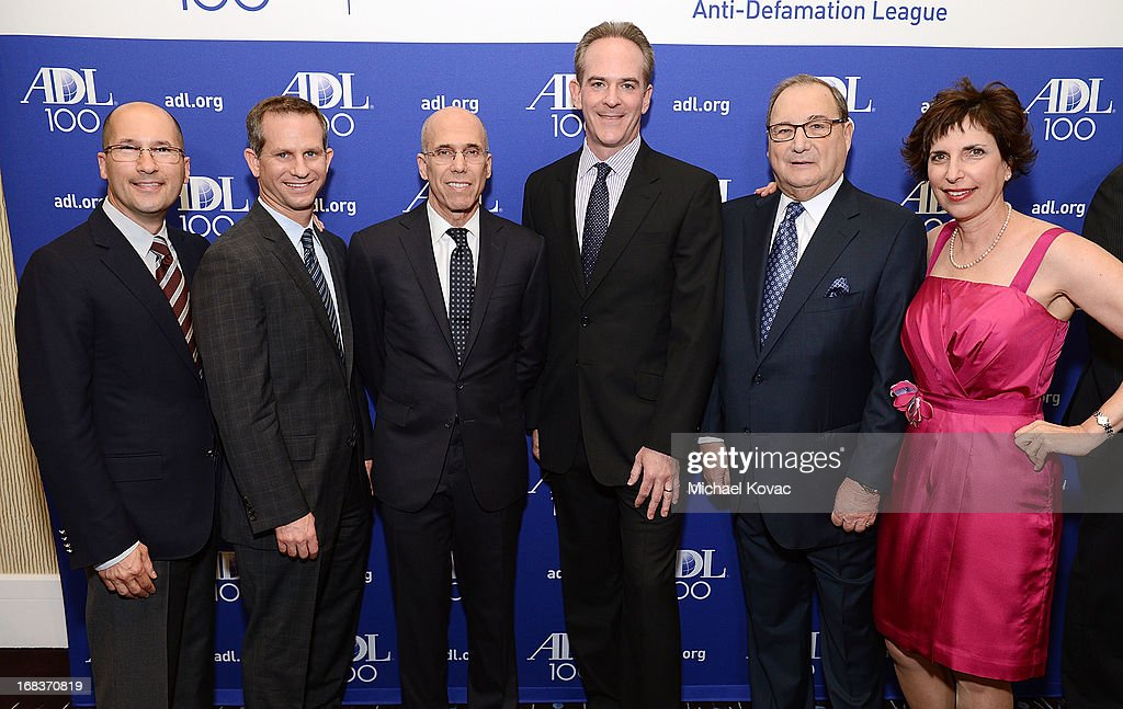 Verance Corp. EVP/CTO Joe Winograd, ADL Regional Board Chair Seth Gerber, DreamWorks Animation CEO <a gi-track='captionPersonalityLinkClicked' href=/galleries/search?phrase=Jeffrey+Katzenberg&family=editorial&specificpeople=171496 ng-click='$event.stopPropagation()'>Jeffrey Katzenberg</a>, ADL Entertainment Industry Awards Dinner Chair Michael Garfinkel, ADL National Director Abraham Foxman, and ADL Regional Director Amanda Susskind attend the Anti-Defamation League Centennial Entertainment Industry Awards Dinner Honoring <a gi-track='captionPersonalityLinkClicked' href=/galleries/search?phrase=Jeffrey+Katzenberg&family=editorial&specificpeople=171496 ng-click='$event.stopPropagation()'>Jeffrey Katzenberg</a> at The Beverly Hilton Hotel on May 8, 2013 in Beverly Hills, California.