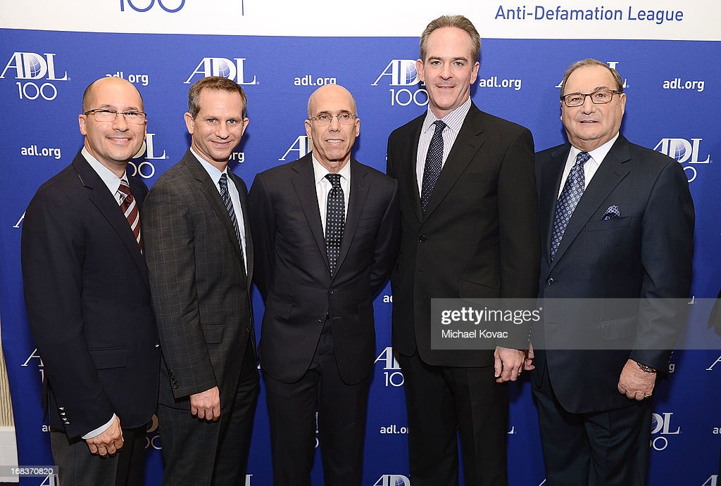 Verance Corp. EVP/CTO Joe Winograd, ADL Regional Board Chair Seth Gerber, DreamWorks Animation CEO <a gi-track='captionPersonalityLinkClicked' href=/galleries/search?phrase=Jeffrey+Katzenberg&family=editorial&specificpeople=171496 ng-click='$event.stopPropagation()'>Jeffrey Katzenberg</a>, ADL Entertainment Industry Awards Dinner Chair Michael Garfinkel, and ADL National Director Abraham Foxman attend the Anti-Defamation League Centennial Entertainment Industry Awards Dinner Honoring <a gi-track='captionPersonalityLinkClicked' href=/galleries/search?phrase=Jeffrey+Katzenberg&family=editorial&specificpeople=171496 ng-click='$event.stopPropagation()'>Jeffrey Katzenberg</a> at The Beverly Hilton Hotel on May 8, 2013 in Beverly Hills, California.