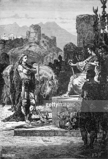 52 BC Vercingetorix Chieftain of the tribe of Arverni in Gaul surrenders himself to Roman general and statesman Julius Caesar