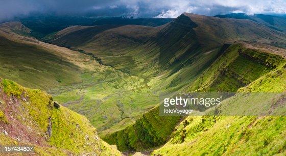 Verdant valleys dramatic escarpments Brecon Beacons Wales UK