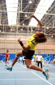 Verdet Kessler of Australia during the womens doubles badminton teams events on day one of the 2013 Australian Youth Olympic Festival in the Sports...
